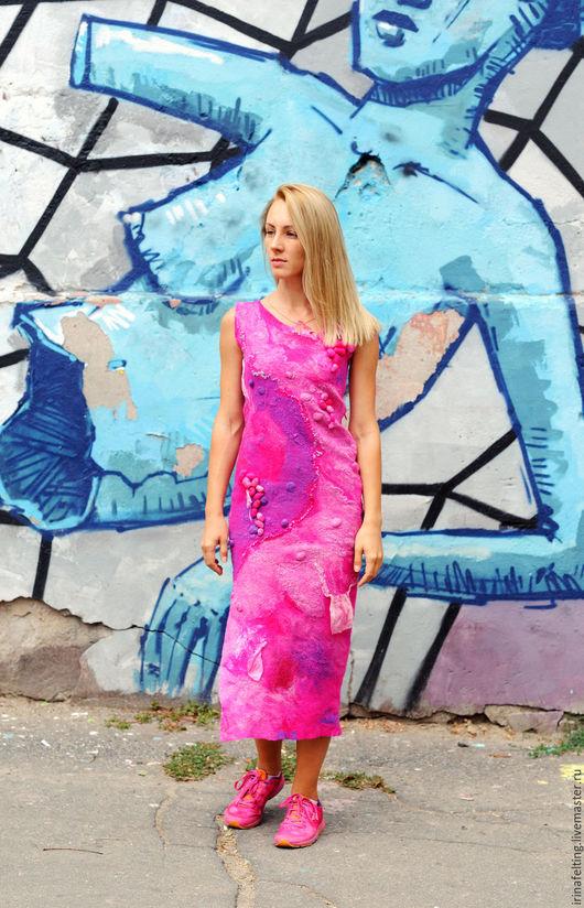 """Платья ручной работы. Ярмарка Мастеров - ручная работа. Купить Платье """"barbie girl"""". Handmade. Фуксия, шерсть"""
