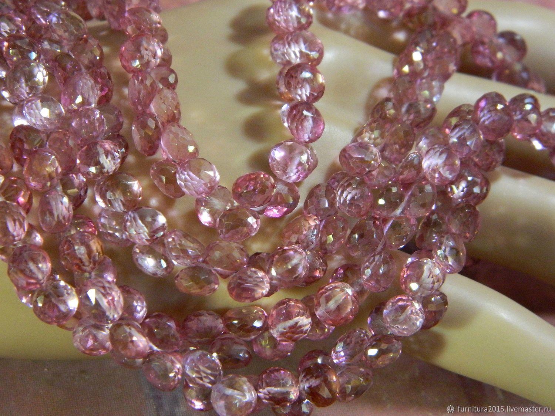 Топаз розовый бусины с огранкой. шт, Бусины, Саратов,  Фото №1