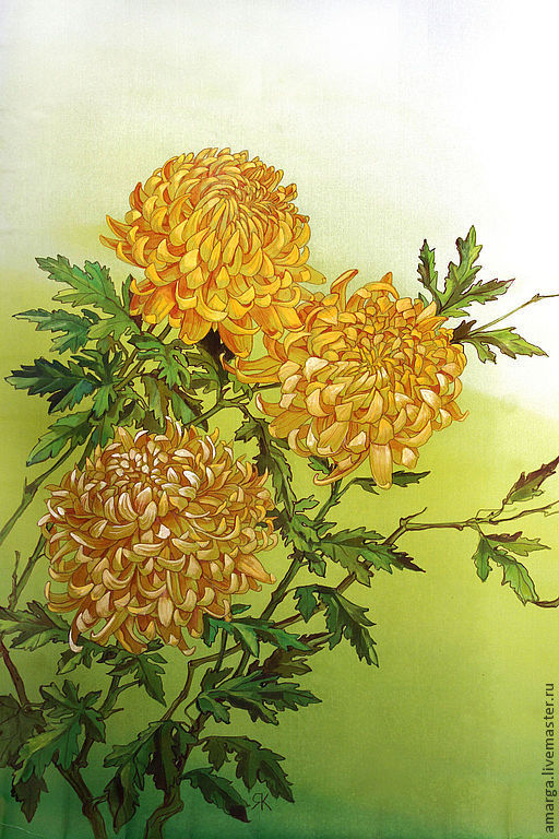 batik scarf 'Yellow chrysanthemum', Scarves, Varna,  Фото №1