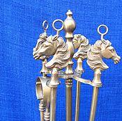 Старинный каминный набор Лошади. Латунь, бронза. Зап. Европа