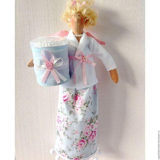 Куклы и игрушки ручной работы. Ярмарка мастеров - ручная работа. Купить кукла Тильда. Банный ангел. Хранительница ватных палочек и дисков. Декор ванной комнаты