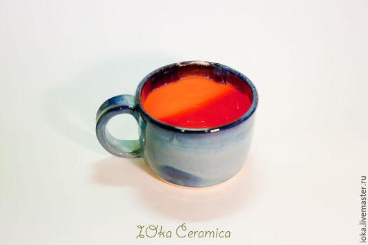 Кружки и чашки ручной работы. Ярмарка Мастеров - ручная работа. Купить Оранжевая. Handmade. Оранжевый, синий, кружка, керамическая кружка