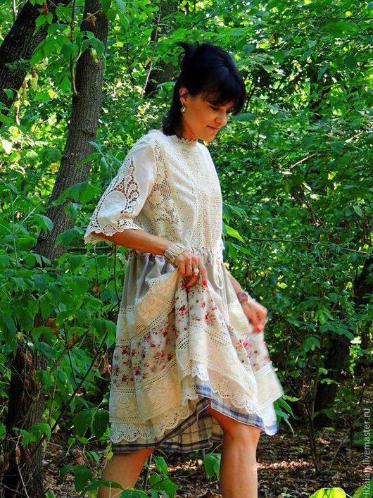 Платья ручной работы. Ярмарка Мастеров - ручная работа. Купить Платье летнее в стиле БОХО из льна и хлопка (№29). Handmade.