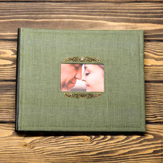 """Фотоальбомы ручной работы. Ярмарка Мастеров - ручная работа. Купить Семейный фотоальбом """"Безмятежность"""". Handmade. Тёмно-зелёный, фотоальбом в подарок"""
