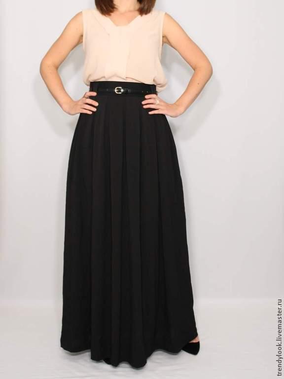 Длинная шифоновая черная юбка
