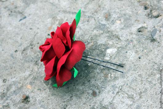 """Заколки ручной работы. Ярмарка Мастеров - ручная работа. Купить Шпилька в волосы """"Красная роза"""". Handmade. Ярко-красный, Испанка"""