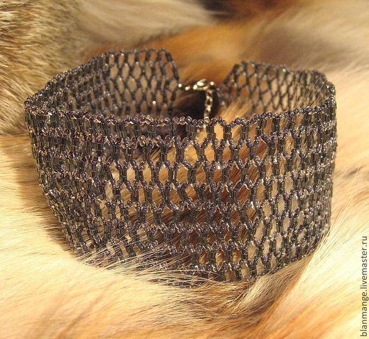 Колье-стойка из чешского бисера и рубки - полупрозрачный, серый цвет