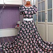 Одежда ручной работы. Ярмарка Мастеров - ручная работа Штапельное платье в пол Вивьен 3. Handmade.