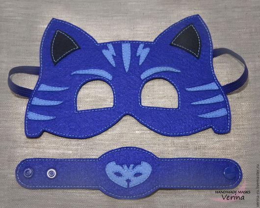 Карнавальные маски для детей и взрослых из фетра ручной работы. Новогодние маски из фетра. Маски для вечеринки. PJ masks. Кэтбой.
