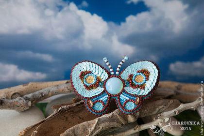 Броши ручной работы. Ярмарка Мастеров - ручная работа Брошь бабочка Элисон вышитая бисером. Handmade.