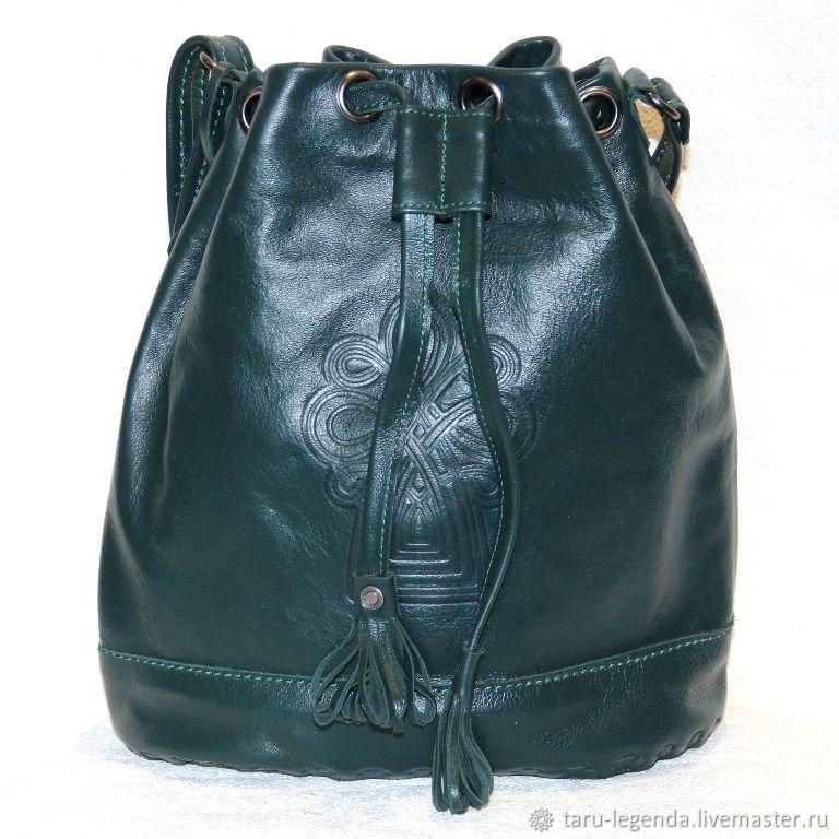 Женские сумки ручной работы. Ярмарка Мастеров - ручная работа. Купить Сумка-торба кожаная зелёная. Handmade. Сумка кожаная
