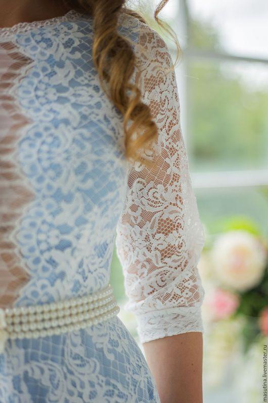 """Платья ручной работы. Ярмарка Мастеров - ручная работа. Купить Платье """"Poesie"""". Handmade. Голубой, масютина олеся, кружево"""