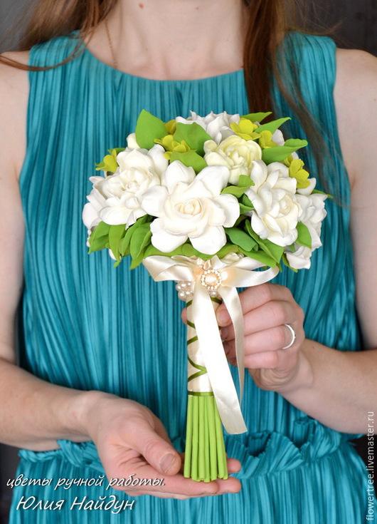 Букеты ручной работы. Ярмарка Мастеров - ручная работа. Купить Букет невесты с розами и гардениями из полимерной глины.. Handmade. Белый