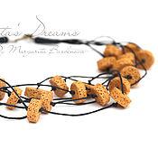 Украшения handmade. Livemaster - original item mustard beads of lava on the cords, multi yellow beads necklace yellow. Handmade.