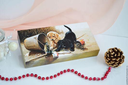 """Персональные подарки ручной работы. Ярмарка Мастеров - ручная работа. Купить Купюрница """"Щенки-рыбачки""""+ Подарок кошельковая мышка. Handmade."""