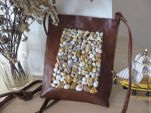 """Женские сумки ручной работы. Ярмарка Мастеров - ручная работа. Купить Маленькая сумочка """"Камушки"""". Handmade. Коричневый, маленькая сумка"""