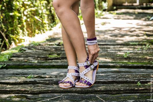 Обувь ручной работы. Ярмарка Мастеров - ручная работа. Купить Сандалии из натуральной замши  Амазонка. Handmade. Фиолетовый, сандалии из кожи