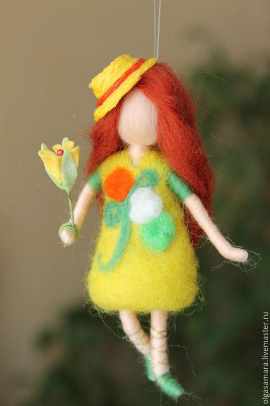 Сказочные персонажи ручной работы. Ярмарка Мастеров - ручная работа. Купить фея Мимоза. Handmade. Желтый, кукла валяная, шерсть