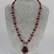 Украшения handmade. Livemaster - original item Necklace with cornelian pendant. Handmade.
