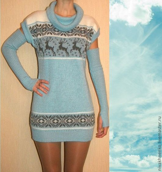 Dresses handmade. Livemaster - handmade. Buy Tunic knit with a Norwegian ornament.Machine knitting to order