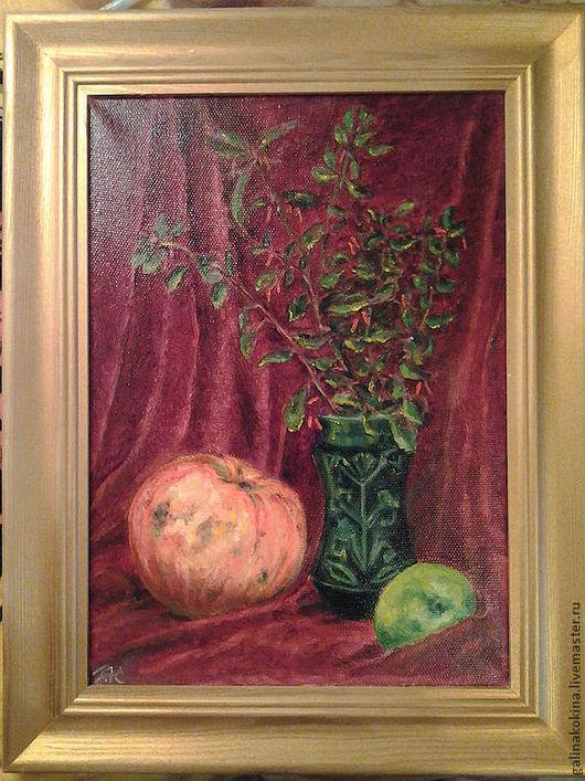 Картина Натюрморт  с тыквой, 25х35 - размер работы без оформления, холст на подрамнике, масло, в деревянной раме золотого цвета.