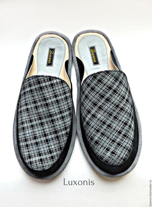 """Обувь ручной работы. Ярмарка Мастеров - ручная работа. Купить Тапочки из натуральной замши """"Классика"""". Handmade. Чёрно-белый, кожа"""