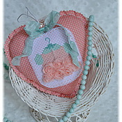 Для дома и интерьера ручной работы. Ярмарка Мастеров - ручная работа Сердечко текстильное Pink mint, мятно-розовый, кукольное платье. Handmade.