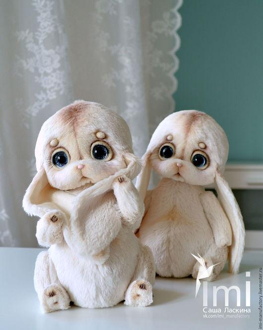 Коллекционные куклы ручной работы. Ярмарка Мастеров - ручная работа. Купить крошки зайки. Handmade. Бежевый, заяц текстильный, ласкина