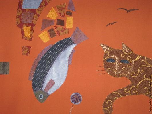 """Животные ручной работы. Ярмарка Мастеров - ручная работа. Купить Панно """"Сон кота в жаркую летнюю ночь"""". Handmade."""