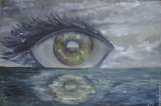 """Абстракция ручной работы. Ярмарка Мастеров - ручная работа. Купить Картина """" Взгляд на жизнь"""". Handmade. Синий, глаз, абстракция"""
