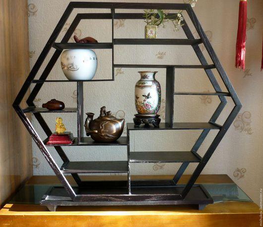 Мебель ручной работы. Ярмарка Мастеров - ручная работа. Купить Полка-этажерка в китайском стиле. Handmade. Коричневый, полка китайская