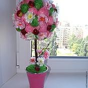 """Цветы и флористика ручной работы. Ярмарка Мастеров - ручная работа Топиарий """"Цветущая вишня"""". Handmade."""