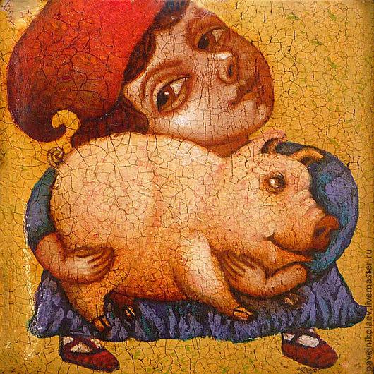 """Фантазийные сюжеты ручной работы. Ярмарка Мастеров - ручная работа. Купить """"Подарок""""(мальчик со свинкой), авторская печать.. Handmade. Желтый"""