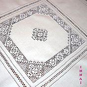 Для дома и интерьера ручной работы. Ярмарка Мастеров - ручная работа Скатерть белая с вышивкой 4 кубанца.  Строчевая вышивка. Handmade.