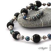 Украшения handmade. Livemaster - original item set with pearl and obsidian,