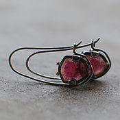 handmade. Livemaster - original item Earrings with watermelon tourmalines, silver and brass. Handmade.