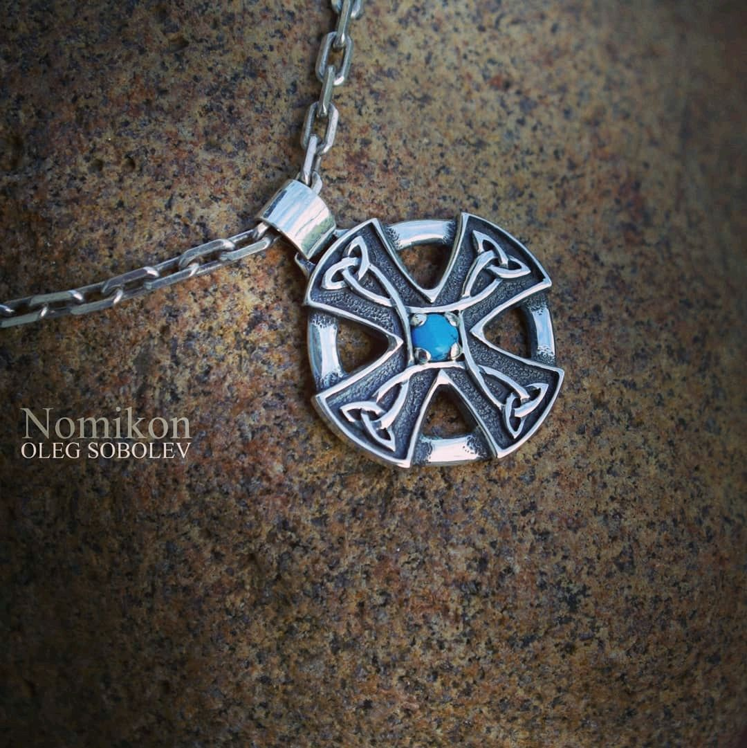 Celtic cross with turquoise (or other stones), Pendants, St. Petersburg,  Фото №1