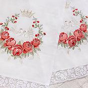 """Свадебный салон ручной работы. Ярмарка Мастеров - ручная работа Венчальный, свадебный рушник """"Венок из роз"""". Handmade."""