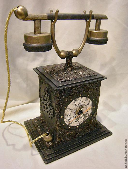"""Часы для дома ручной работы. Ярмарка Мастеров - ручная работа. Купить Часы """" Ретро телефон"""" часы настольные. Handmade."""