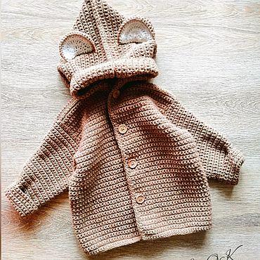 Одежда ручной работы. Ярмарка Мастеров - ручная работа Детский вязаный кардиган с ушками. Handmade.