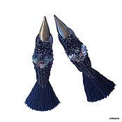 Tassel earrings handmade. Livemaster - original item Earrings-brush-birds