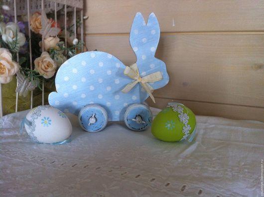 """Детская ручной работы. Ярмарка Мастеров - ручная работа. Купить Игрушка """"Кролик"""". Handmade. Голубой, пасхальный декор, акриловые краски"""