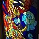 """Элементы интерьера ручной работы. Витражная картина """"Феникс - птица счастья"""". Art Brothers. Ярмарка Мастеров. Птица, витражное стекло"""