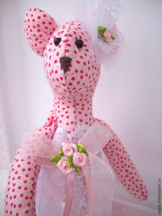 Куклы Тильды ручной работы. Ярмарка Мастеров - ручная работа. Купить Мышка - тильда. Handmade. Розовый, мышонок, подарок, кружево