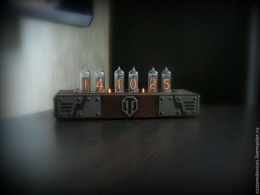 """Подарки для мужчин, ручной работы. Ярмарка Мастеров - ручная работа. Купить Часы """"Nixieclock"""" World of Tanks. Handmade. военный"""