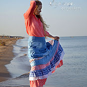 Одежда ручной работы. Ярмарка Мастеров - ручная работа Юбка и блузка Нежность моря юбка из джинса. Handmade.
