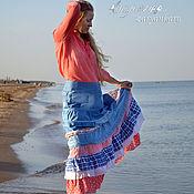 Юбки ручной работы. Ярмарка Мастеров - ручная работа Юбка Нежность моря юбка из джинса. Handmade.