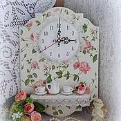 """Для дома и интерьера ручной работы. Ярмарка Мастеров - ручная работа Часы с полочкой настенные кухонные """"Розовый сад"""". Handmade."""