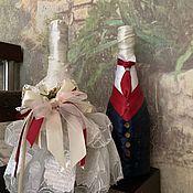 Бутылки ручной работы. Ярмарка Мастеров - ручная работа Свадебный декор от Bunny Family. Handmade.