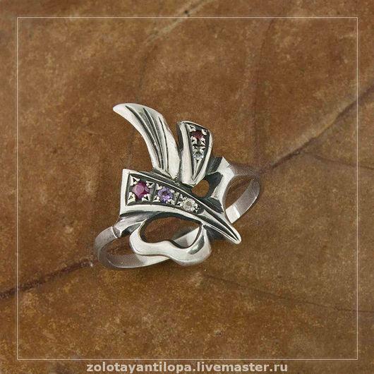 """Кольца ручной работы. Ярмарка Мастеров - ручная работа. Купить Кольцо """"Пламя"""" с драгоценными камнями. Handmade. Серебро, подарок"""
